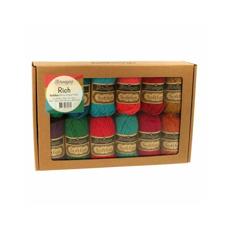 Scheepjes Softfun Color Pack - Rich - 12 gombolyag fonal  - 12 balls of yarn