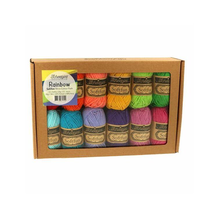 Scheepjes Softfun Color Pack - Rainbow - 12 gombolyag fonal  - 12 balls of yarn