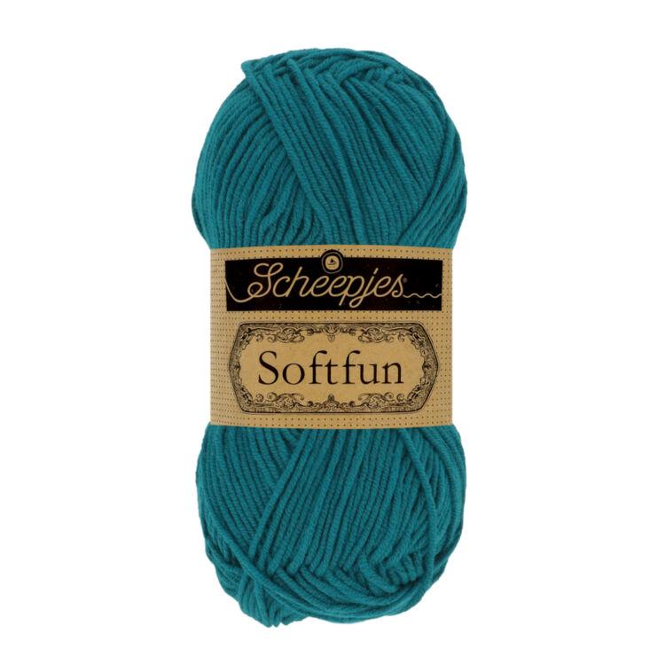 Scheepjes Softfun 2644 Lagoon - deep turquoise blue- sötét türkiz kék - pamut-akril fonal - yarn blend