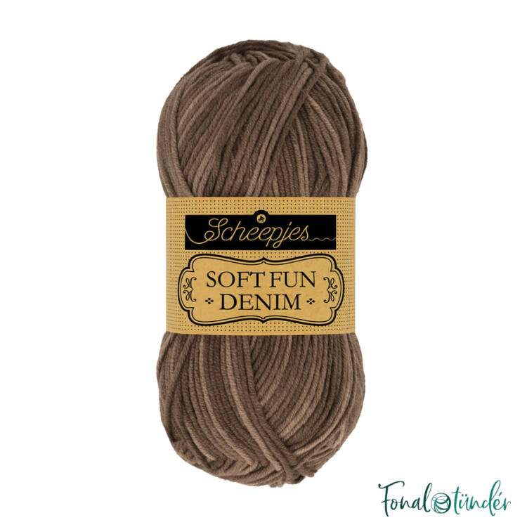 Scheepjes Softfun Denim 510 - brown - barna - pamut-akril fonal - yarn blend