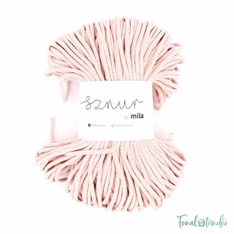 MILA Sznur cotton cord - powder pink - pamut zsinórfonal - púderrózsaszín - 5mm