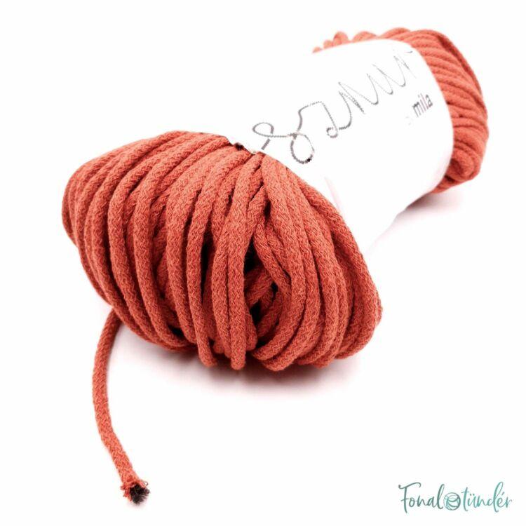 MILA Sznur cotton cord - deep orange - pamut zsinórfonal - sötét narancssárga színű - 5mm