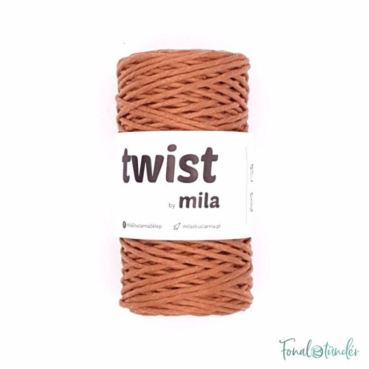 MILA Twist cotton cord - cinnamon brown - sodort pamut zsinórfonal - fahéj barna - 3mm
