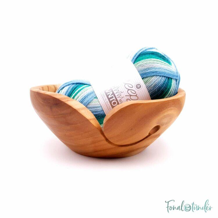 Kézműves Diófa Fonalvezető Tál - Handmade Wooden Yarn Bowl - 17cm