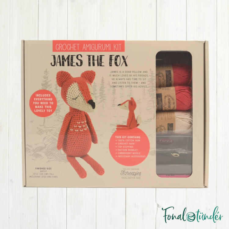 James a Róka - horgolásminta + fonal csomag - Amigurumi - James the Fox - crochet diy kit