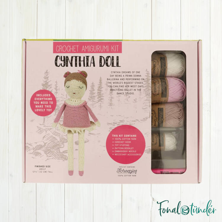 Cynthia Baba - horgolásminta + fonal csomag - Cynthia Doll - crochet diy kit