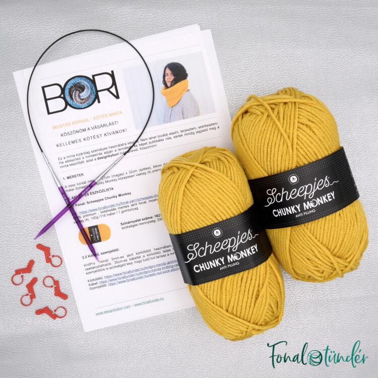 Mustár Körsál - minta+fonal+eszköz kötés csomag - Mustard Cowl - knitting diy kit