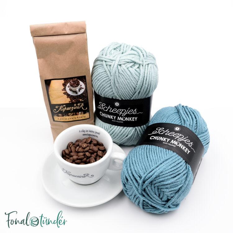 Kék Cappuccino - minta+fonal+kávé csomag - Blue Cappuccino - yarn + pattern + coffee box